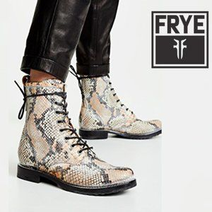 🆕Frye Moto Combat Lace Up Boot Snakeskin Embossed